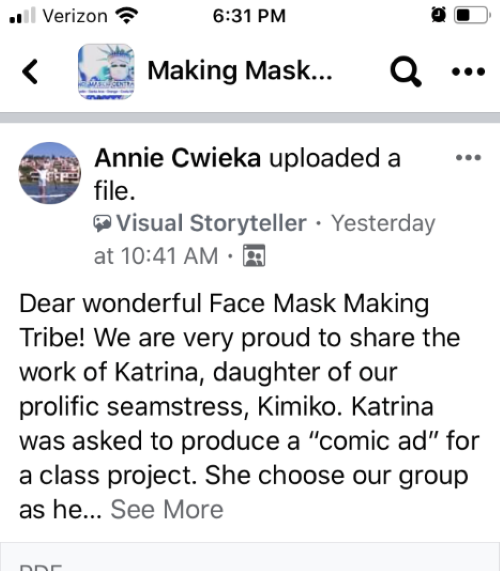 Making Masks Central OC  Facebook post #1